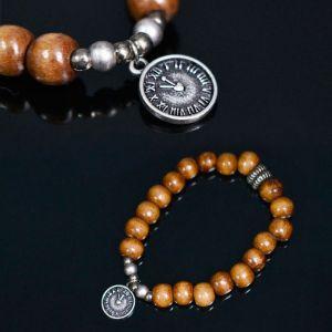 Watch Charm Wood Beads-Bracelet 326