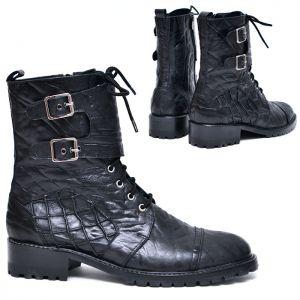 Wrap Buckle Mesh Crack Biker Boots-Shoes 552