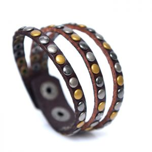 Triple Multi Studs Leather Cuff-Bracelet 337
