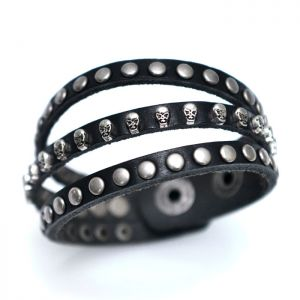 Triple Skull Stud Leather Cuff-Bracelet 338