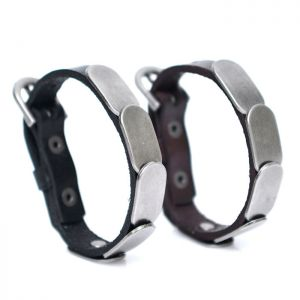 Metal Shield Leather Buckle Cuff-Bracelet 339