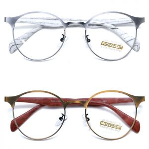 Wood-like Retro Metal Frame Round-Glasses 27