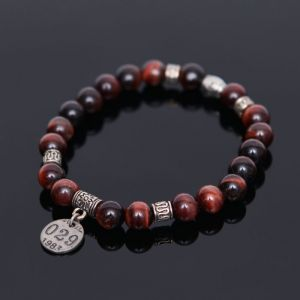 Red Tiger Eye Gemstone Beads-Bracelet 345