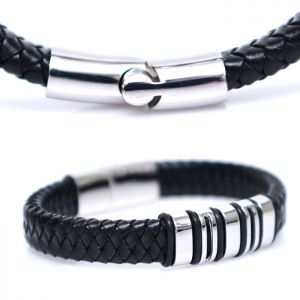 Braided Leather & Steel Cuff-Bracelet 356