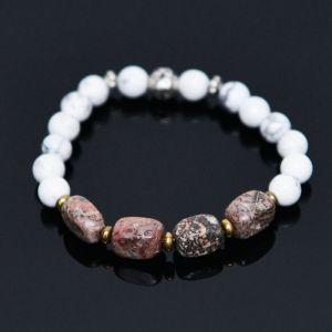 Apricot Stone & Hawlite Mix Beads-Bracelet 357