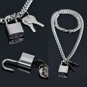 Real Lock & Key Pendant Silver Long-Necklace 279