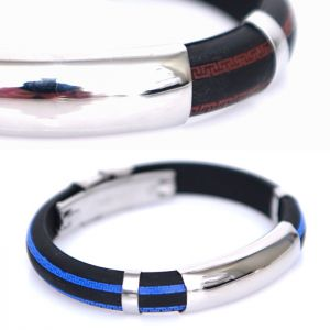 Oriental Color Striped Steel Cuff-Bracelet 366