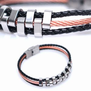 Zigzag Steel Braided Leather Cuff-Bracelet 367
