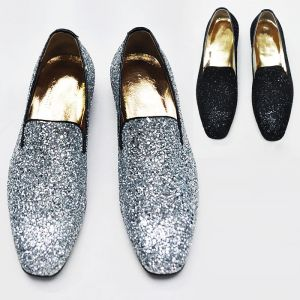 Lux Glittering Crystal Encrusted Slip On Loafer-Shoes 193