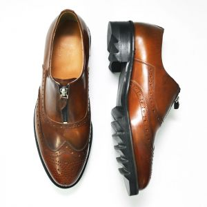 4cm Shark Sole Gradation Brown Wingtip-Shoes 255