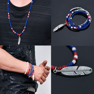 2-way 4 Coils Cuff & Feather Blue Red Mix-Necklace 283