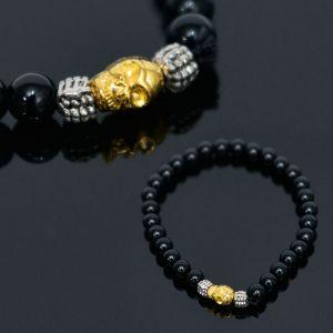 Gold Skull Charm Onix Beads-Bracelet 374