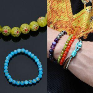 Vivid Flower Glass Beads-Bracelet 375