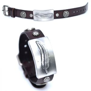 Leaf Metal Charm Belted Leather Cuff-Bracelet 376