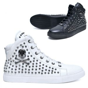 Skull & Pointy Stud Leather Hightop-Shoes 572