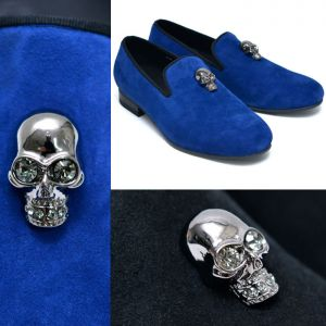 Jewel Skull Suede Slipon Loafer-Shoes 573