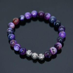 Purple Agate Beads-Bracelet 382