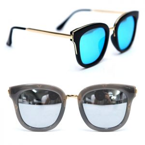 Gold Arm & Trim Square-Sunglasses 100