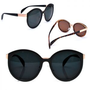 Oversized Gold Trim Round-Sunglasses 101