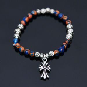 Cross Charm Gemstone Metal Mix Beads-Bracelet 385