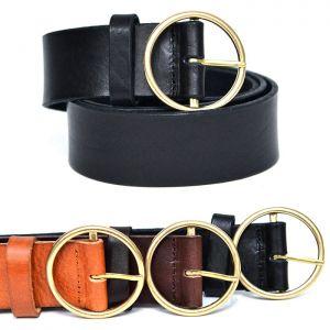 Gold Circle Unisex Leather-Belt 156