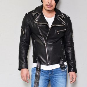 Double Zip Collar Belted Lambskin Rider-Leather 114