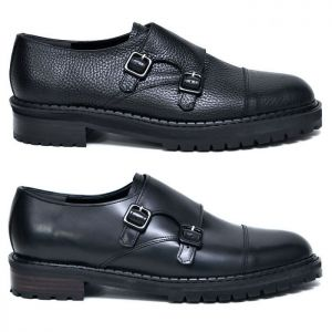Basic Black Double Monk-Shoes 586