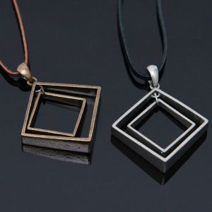 Double Square Leather Long-Necklace 305