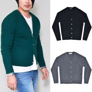Biker Seaming Wool Knit-Cardigan 201