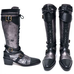 Silver Crack Vampire Biker Long Boots-Shoes 595