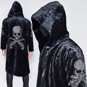 Velvet Jewel Skull Hood Long-Coat 130