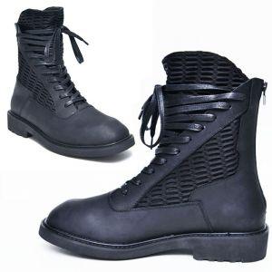 Matt Black Leather Mesh Boots-Shoes 604