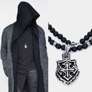 Steel Crusader Long Beads-Necklace 311