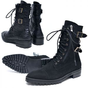 Belted Urban Combat Biker Boots-Shoes 611
