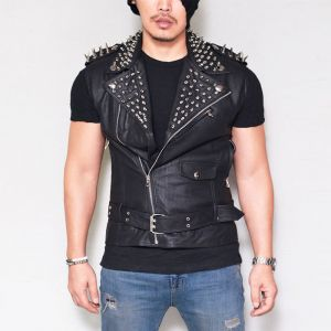 Spike Stud Snug Lambskin Vest-Leather 118