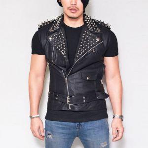 Spike Stud Snug Lambskin Vest-Leather 118