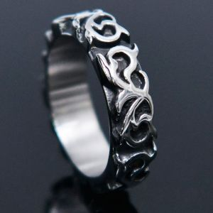 Engraved Smoke Steel -Ring 66