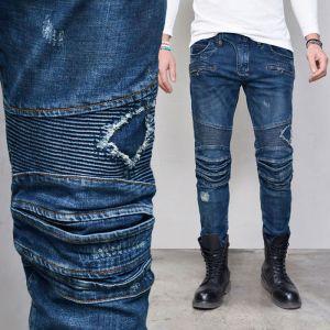 Top Notch Vintage Blue Seaming Biker-Jeans 353