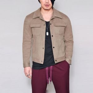 Suede Urban Slim Button Up-Jacket 299