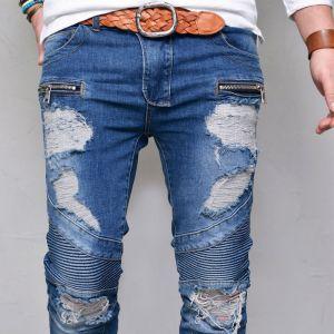 Destroy Seaming Skinny Biker-Jeans 362