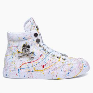 Skull Painting Leather Hightop-Shoes 625