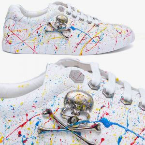 Skull Painting Leather Low-Shoes 626