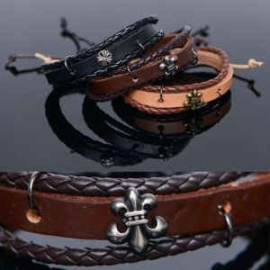 3 Coil Leather Braided Tie-Up-Bracelet 415