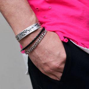 Bendable Matt Silver Phoenix Bangle-Bracelet 416