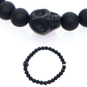 Matt Onix Black Skull Beads-Bracelet 418