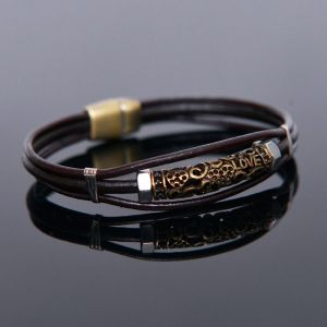 3 Leather Coil Gold Love Cuff-Bracelet 420