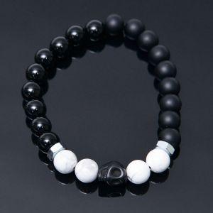 Skull Bone Charm Onix Hawlite Beads-Bracelet 424