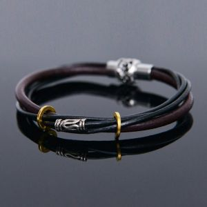 4 Vintage Leather Coil Cuff-Bracelet 425
