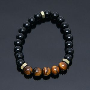 Tiger Eye Onix Nut Beads-Bracelet 426