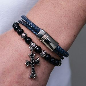Braided Dual Leather Cuff-Bracelet 428